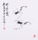 【已售】青年花鸟名家李刚国画《虾趣图》