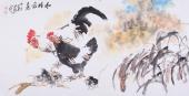【已售】河南美协王向阳四尺国画鸡《和睦家庭》