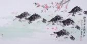 【已售】山东美协刘合文六顺图《桃花流水鳜鱼肥》