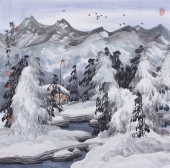 【已售】国礼艺术家李振东冰雪画四尺斗方《瑞雪图》