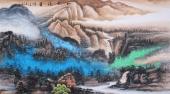 六尺彩墨画 画家陈光宇山水画作品《山水清音》