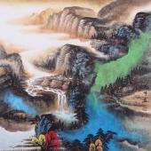 茶楼装饰画 陈光宇泼彩山水画