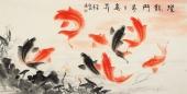 招财聚宝图 山东美协董宗周花鸟画作品《跃龙门步步高升》