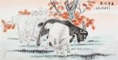 书画家协会常务理事李孟尧  四尺动物画《三羊开泰》