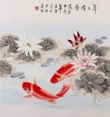 【已售】北京美协 凌雪斗方 工笔鱼《年年有余》