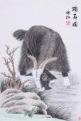 王梓旭四尺三开工笔动物画作品《踏春图》