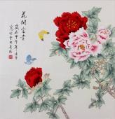 【已售】北京美协 凌雪斗方 工笔画《花开富贵》