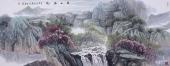 广西美协欧阳 小六尺写意山水《溪山春晓》