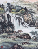 广西美协欧阳 小六尺写意山水《溪山积翠》