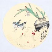 实力派画家天语写意花鸟团扇《神仙图》