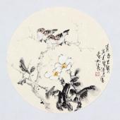 实力派画家天语写意花鸟团扇《清香古韵》