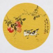 实力派画家天语写意花鸟团扇《长寿品清影》
