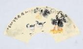 实力派画家天语写意花鸟扇面《品福图》