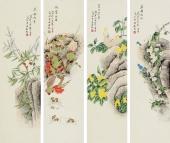 北京美协凌雪 花鸟四条屏《春夏秋冬》