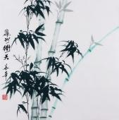 【已售】安徽美协何华举 国画竹子斗方《翠竹动天》