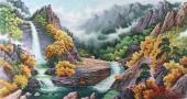 【已售】朝鲜二级艺术家尹哲山水画作品《七宝山的溪谷》