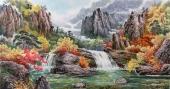 【已售】朝鲜一级艺术家李银光四尺山水画《金刚山溪谷》