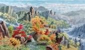 朝鲜一级艺术家李天日三尺山水画《苗香山》