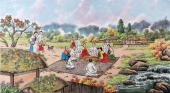 【已售】朝鲜一级艺术家李银光四尺民俗画《山村的夏天》