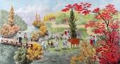 【已售】朝鲜一级艺术家李银光四尺民俗画《故乡》
