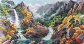 【已售】朝鲜二级艺术家尹哲山水画作品《七宝山溪谷的秋天》