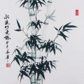【已售】安徽美协何华举 国画竹子斗方《雨后竹更艳》
