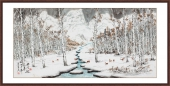 广西美协李墨山水画《瑞雪迎春》