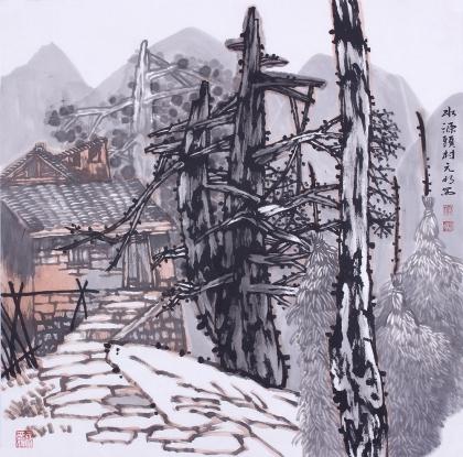 【已售】国画家宋元明四尺斗方精品山水画作品《水源头村》