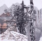 国画家宋元明四尺斗方精品山水画作品《水源头村》