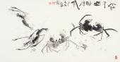 【已售】虾蟹图 陶立明花鸟画作品《水泊梁山酒旗风》