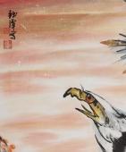 【询价】高瞻远瞩 丰伟写意国画四尺竖幅雄鹰图