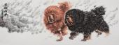 【已售】双獒图 一熬王贵邱小六尺写意精品动物画《雪域雄风》