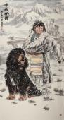 河南美协王贵邱六尺竖幅藏獒《雪域风情》