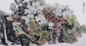 河南美协花鸟名家李春江六尺横幅芭蕉《幽韵》