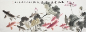 【已售】河南美协李春江六尺横幅荷花鱼《家和业兴富贵九鱼》