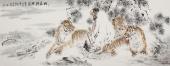 【已售】动物画名家杨西沐六尺横幅老虎《伏虎禅定图》