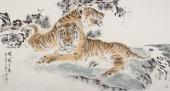 【已售】画虎名家杨西沐六尺横幅《雄风千载》