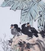 北京美协周宣荣四尺三开花鸟画作品《清香图》