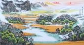 北京美协周升寅六尺山水画《高歌夏收图》