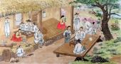 【已售】朝鲜一级艺术家李银光四尺民俗画《山村的故乡》