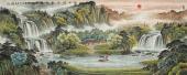 欧阳六尺横幅聚宝盆山水画《依山傍水春意浓》