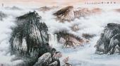 北京美协周升寅六尺横幅山水画《幽居峡江畔》