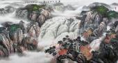 【已售】周升寅六尺横幅山水画《黄河之水天上来》