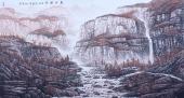 山水名家周升寅六尺横幅山水画《高远秋色》
