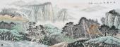 【已售】周升寅六尺横幅山水画《松山秋色》