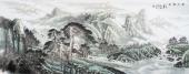 【已售】北京美协周升寅六尺横幅山水画《松山初雨》