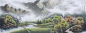 【已售】山水名家周升寅六尺横幅山水画《白云生处有人家》