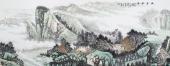 北京美协周升寅六尺横幅山水画《幽居秋色》