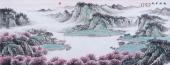 【已售】周升寅六尺横幅山水画《桃源日出》