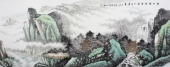 北京美协周升寅小六尺横幅山水画《松山云起处 秋山好居家》